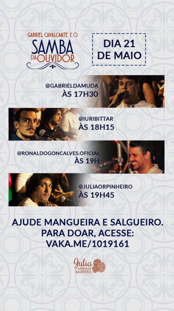 Samba da Ouvidor realiza lives para arrecadar fundos para comunidades no Rio de Janeiro