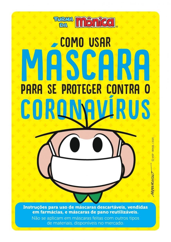 Turma da Mônica desenvolve cartilha de orientação para o uso correto das máscaras de proteção
