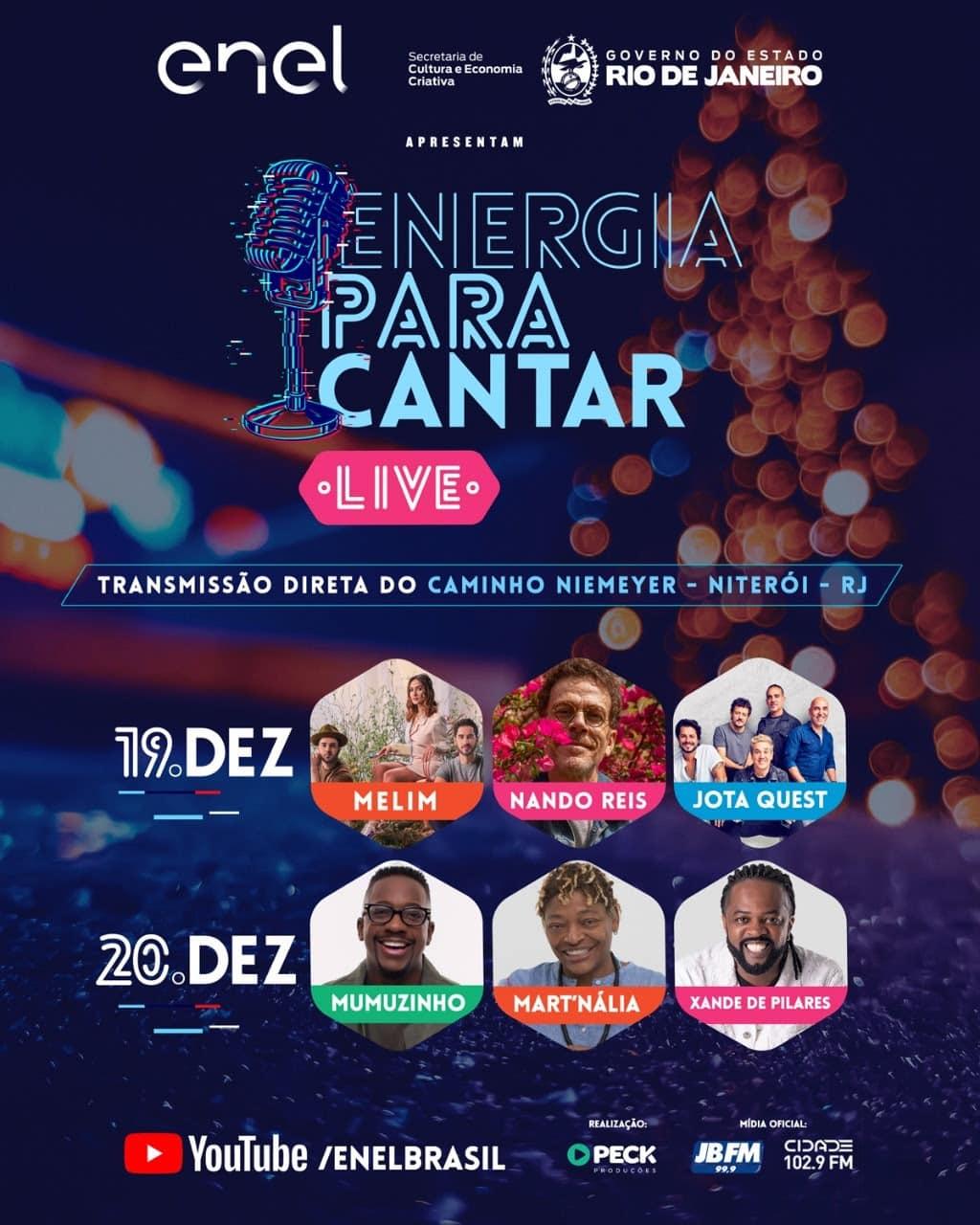 Festival Energia Para Cantar tem shows de Mart'nália, Nando Reis, Jota Quest, Xande de Pilares