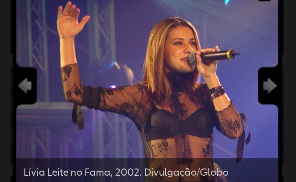 Lívia Leite no programa Fama 2002